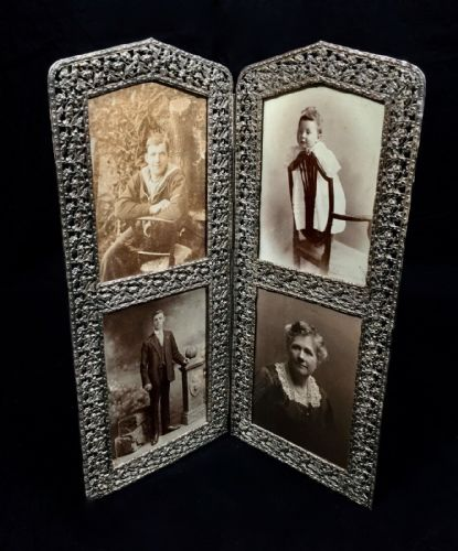 Antique Art Nouveau Bi-fold Four Picture / Photo Frame / Silver Coloured